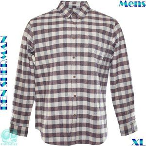 Ben Sherman Mens XL Brown Plaid Heavy Cotton Shirt